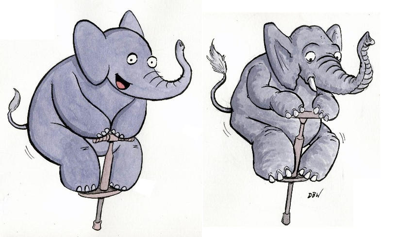 Elephant on a pogo by stinkywigfiddle