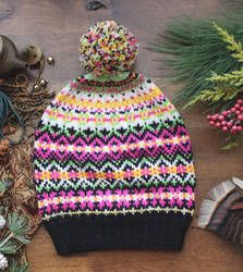 Black Fair Isle Hat