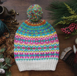 White Fair Isle Hat