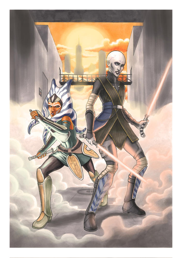Ahsoka and Asajj by darktenshilight