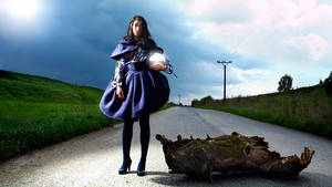 girl with a log on the road II by jipo
