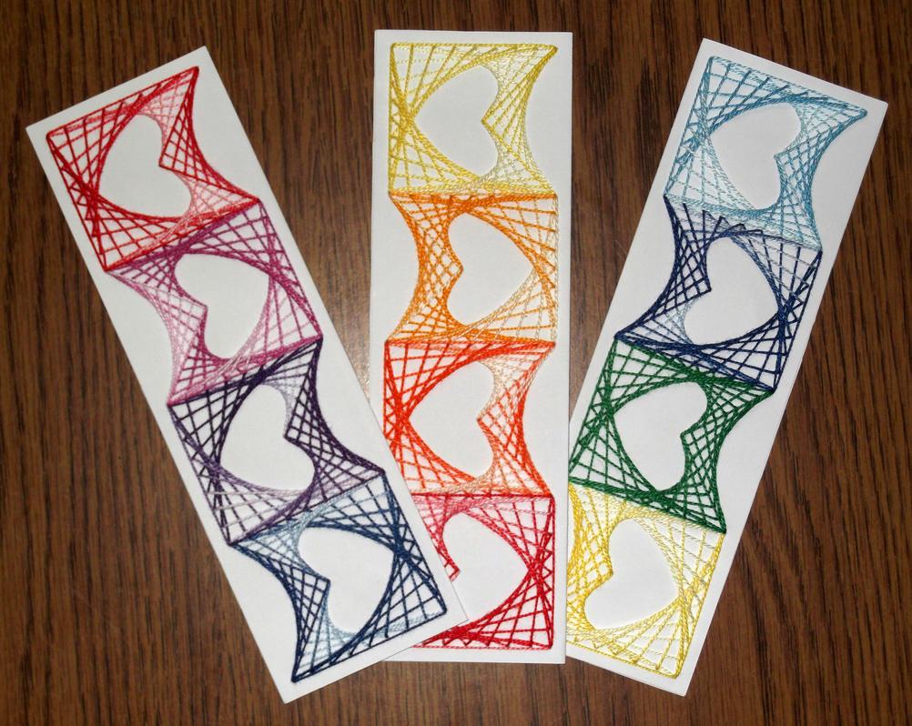 Diy String Art Diy String Art Bookmarker With Optical Hearts By Terhesati On