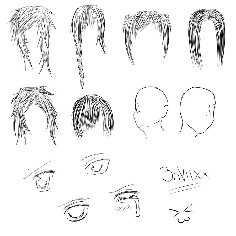 anime head, hair, eyes base by 3nViixx on DeviantArt