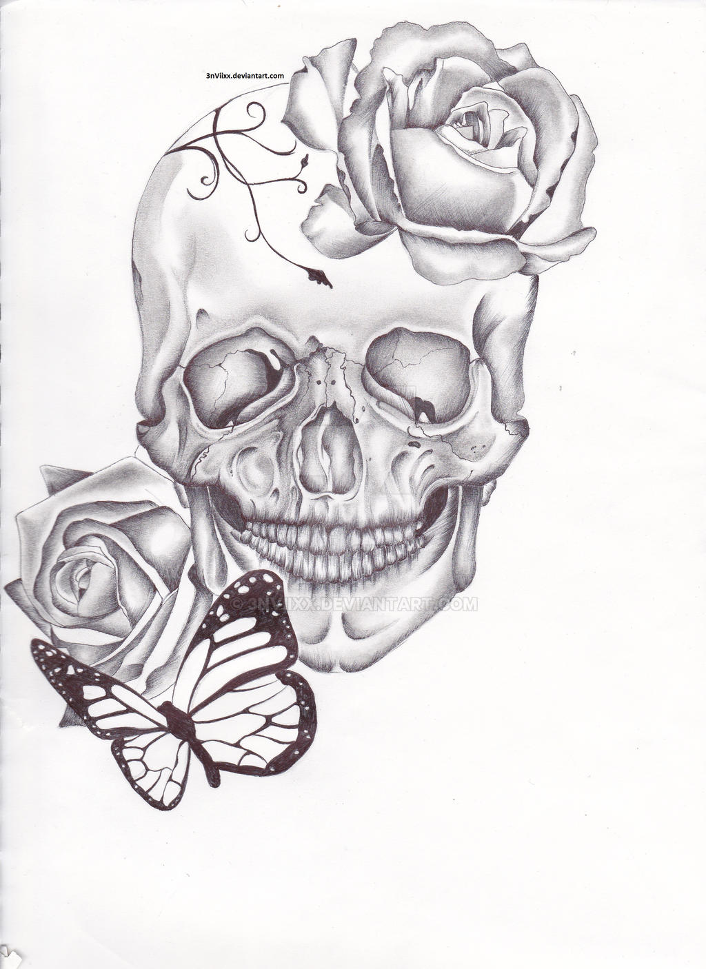 skull tattoo design by 3nviixx on deviantart. Black Bedroom Furniture Sets. Home Design Ideas