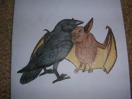 Bat hugging Raven by fedishi