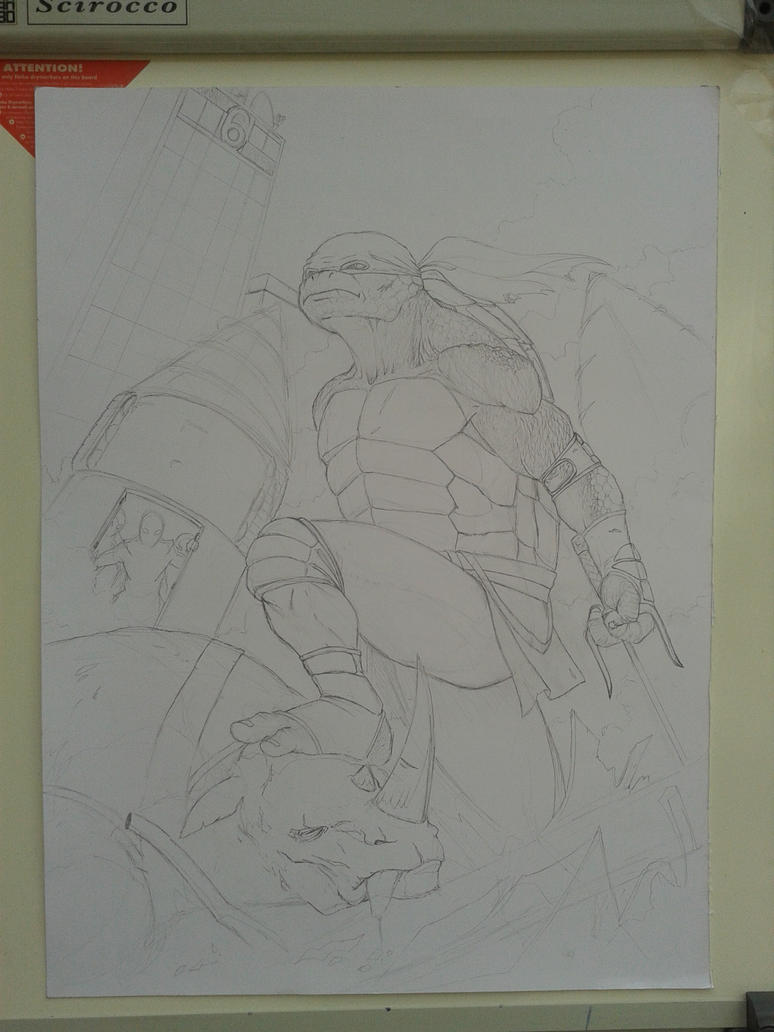 TMNT Raphael Pencil WIP by theoggster