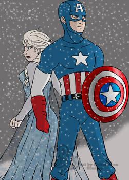 Queen Elsa and Captain America