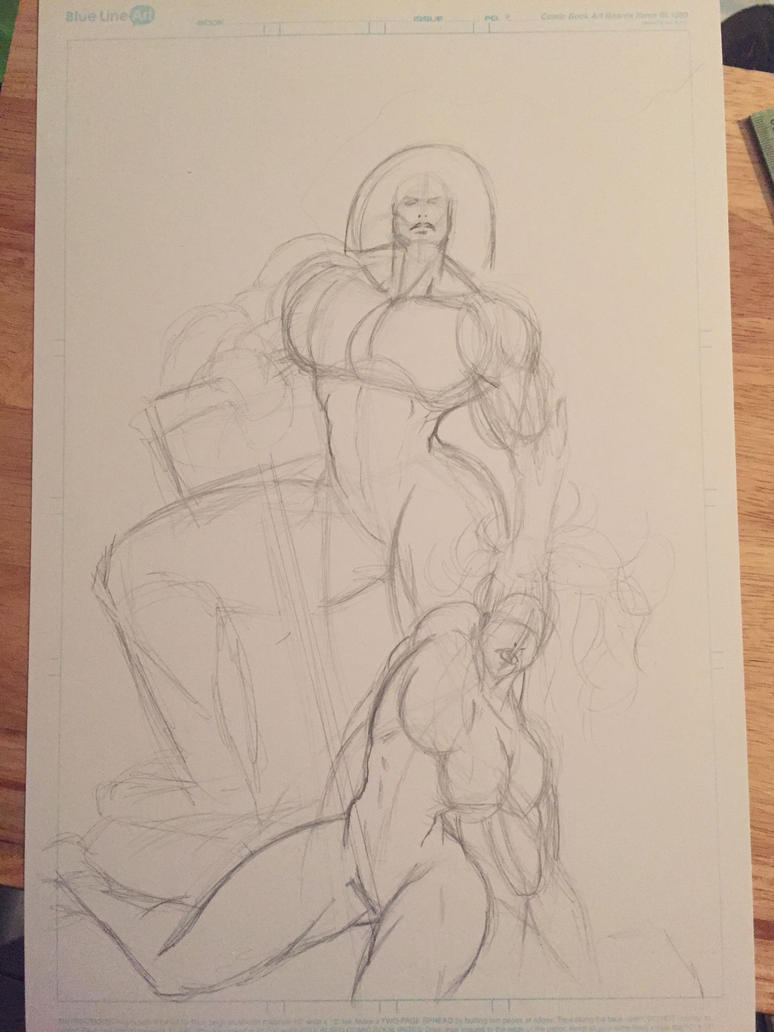Tanalth The Pursuer VS She-Hulk sketch 1 by Dark-Blue-Abaddon