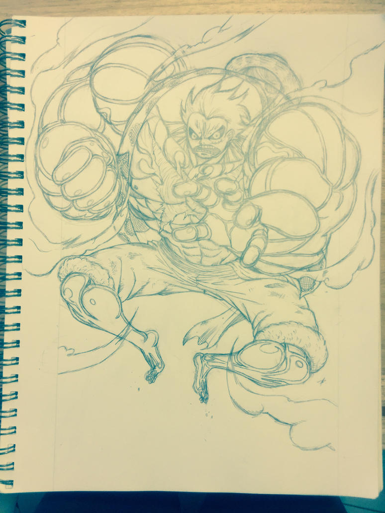 Luffy Gear 4 Pencil by Dark-Blue-Abaddon