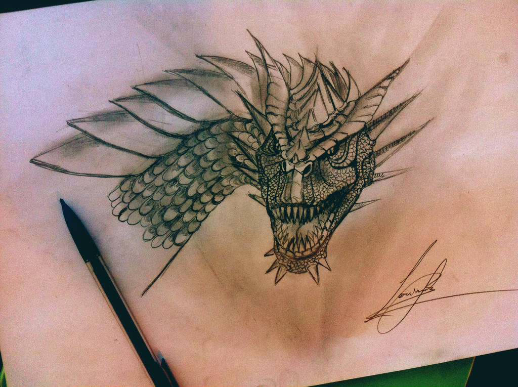 My Drogon sketch by BabyIva