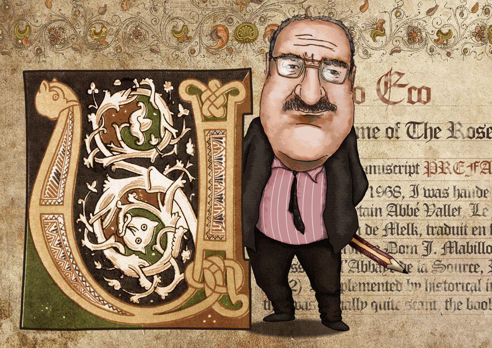 Umberto Eco caricature v.2 (colored, final)