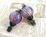 Blown Glass Hot Air Balloon Earrings by salvagedsword