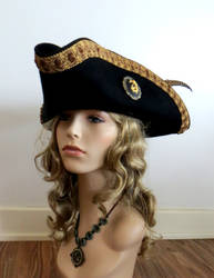 Black Wool Pirate Hat with Cameo