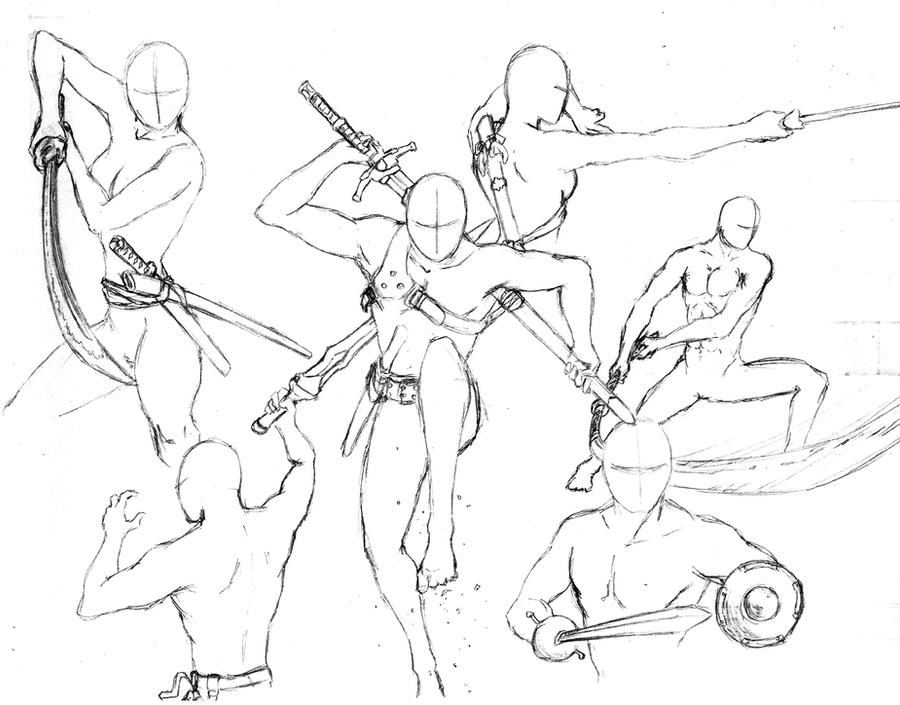 Action Poses 7 - Swords by shinsengumi77 on DeviantArt