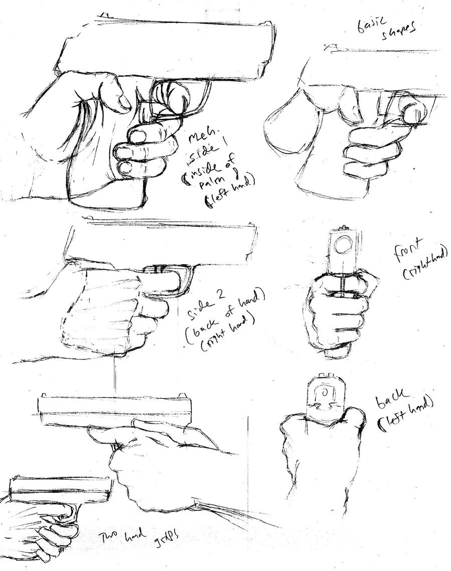 how to draw someone holding a gun