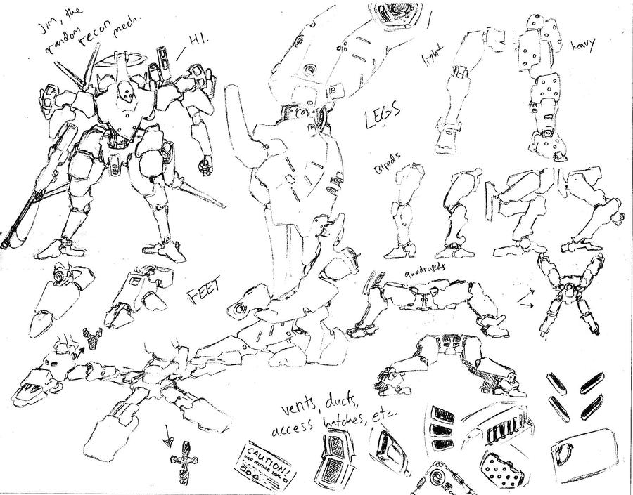 How to draw mechs 1 -legs and feet by shinsengumi77