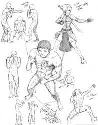 Group poses 1: Fighting stance (boxing)