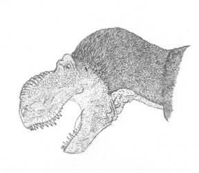 Tyrannosaurus bust by AceofTailClubs