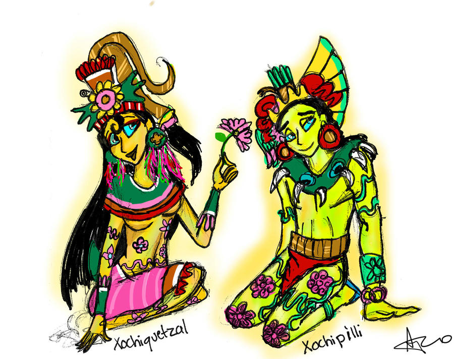 Xochiquetzal and Xochipilli by iluvsponge111Xochiquetzal Aztec God