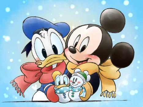 snow mickey donald