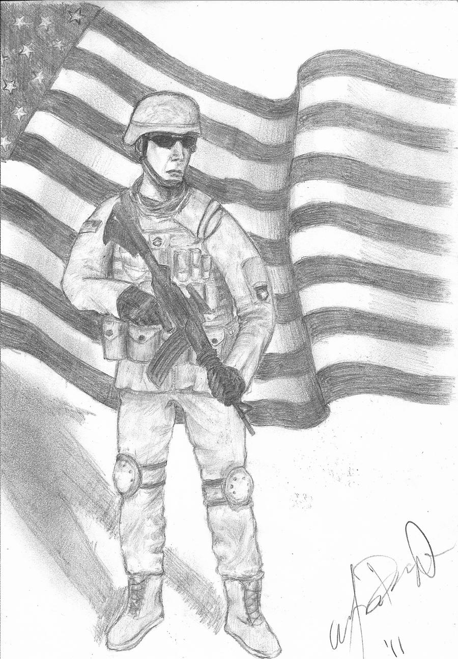 american soldier drawing -#main