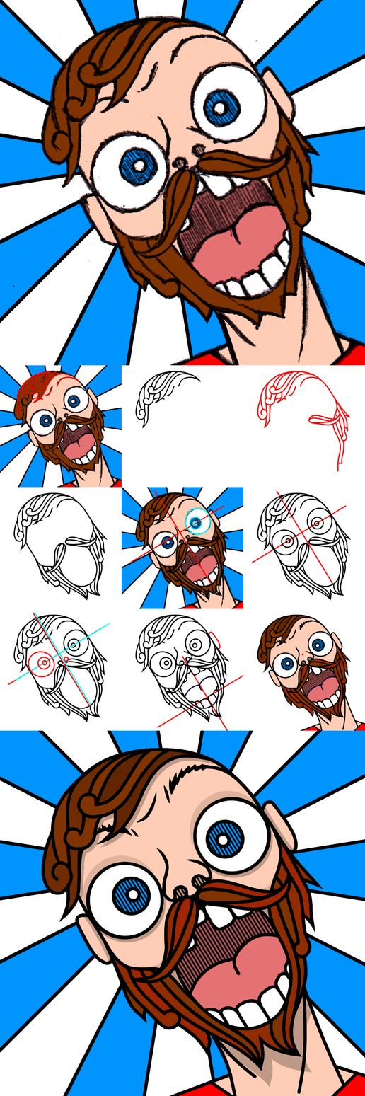 My Face When Digital Trace Before/After/WIP Stages by singularitycomplex