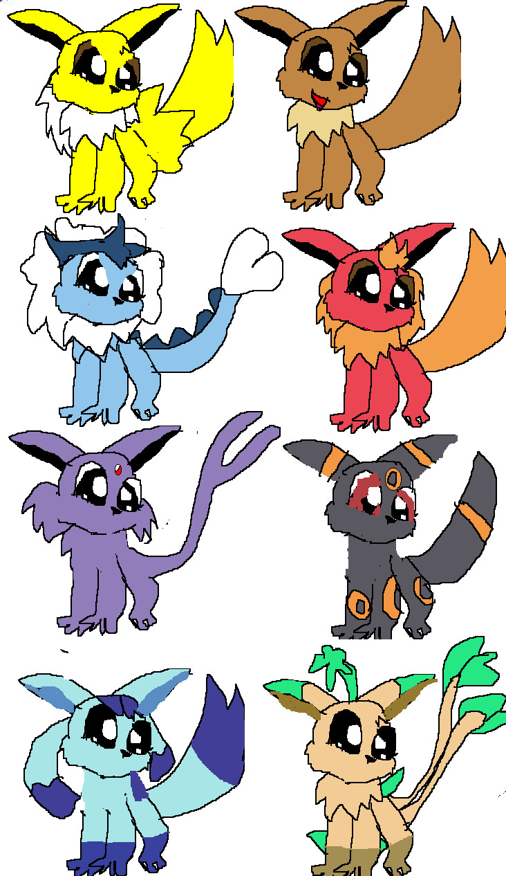 Eevees Evolutions by PowderPuffBunny
