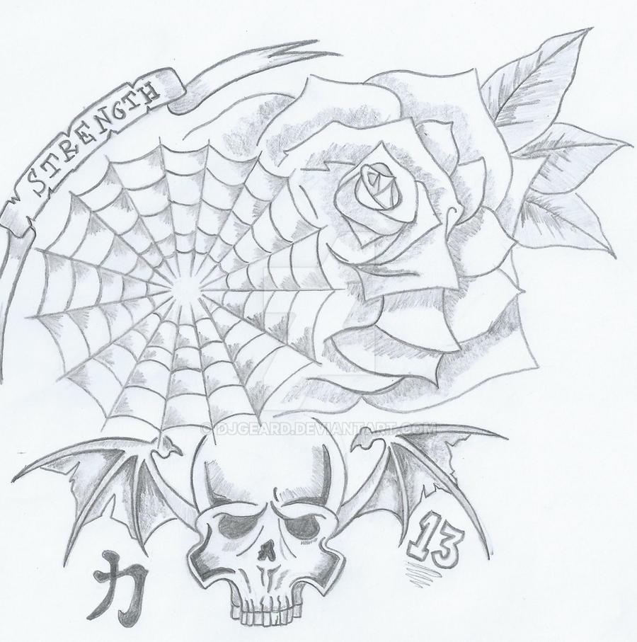 Skull Rose Spider Web By Djgeard On Deviantart