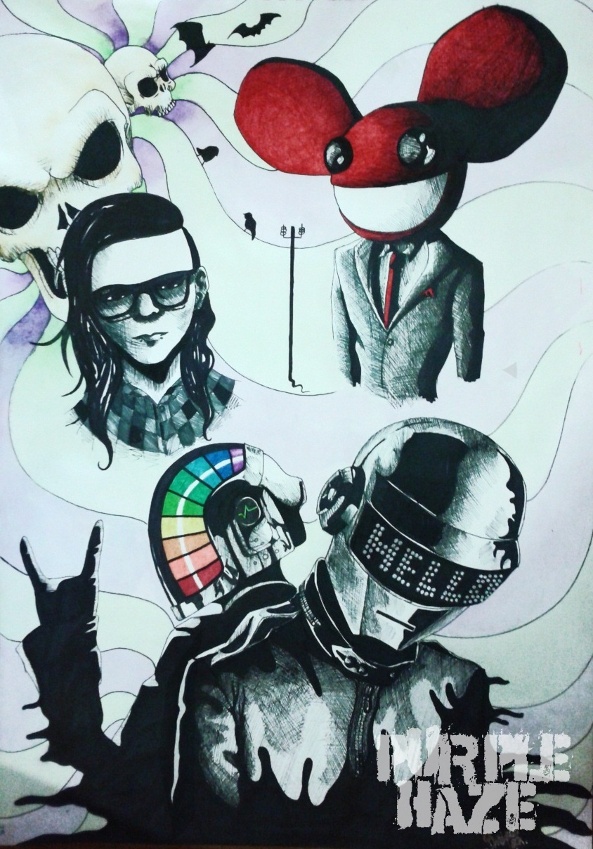 Skrillex  Deadmau5 y Daft punk by PurpleHaze-GinDeadmau5 And Skrillex And Daft Punk