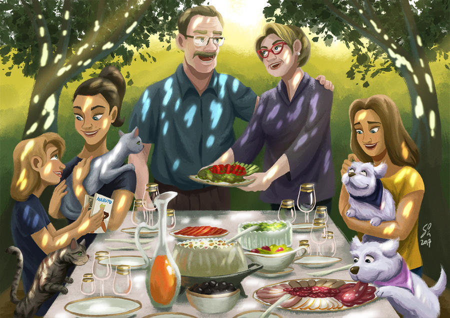 Family Picnic by DominicDrawsArt
