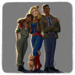 Captain Marvel and Co. by DominicDrawsArt