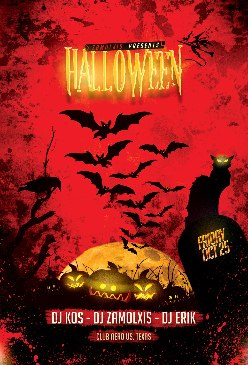 Halloween party flyer template psd by zamolxisart on for Free halloween flyer templates