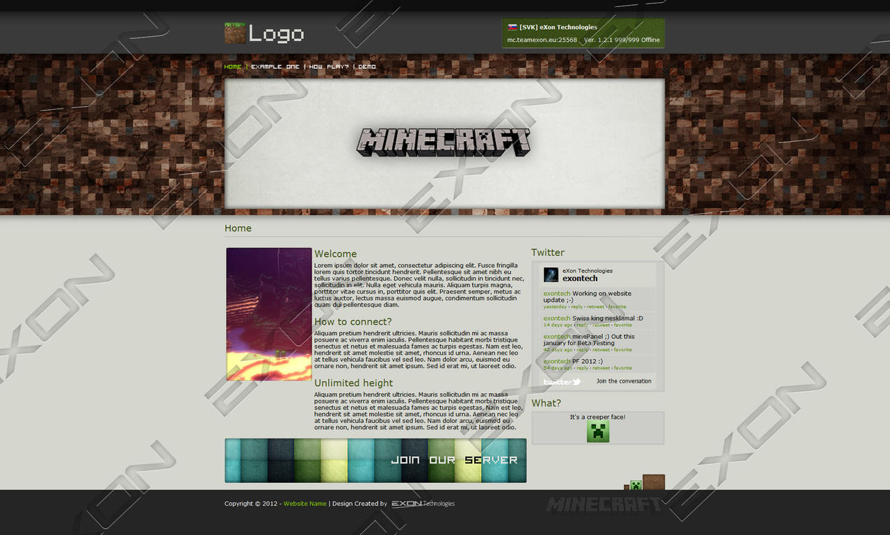 Minecraft HTML Template - For SALE! - UPDATED! by JamiraCraft on ...