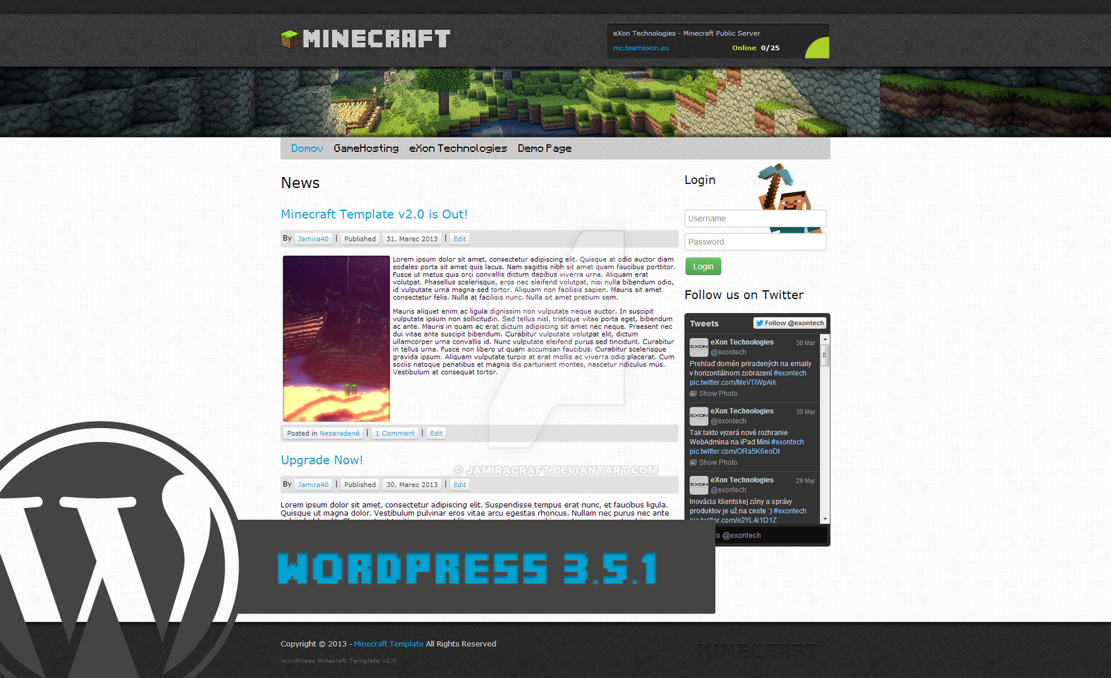 DeviantArt: More Like Minecraft WordPress Template v2 - 10$ by ...