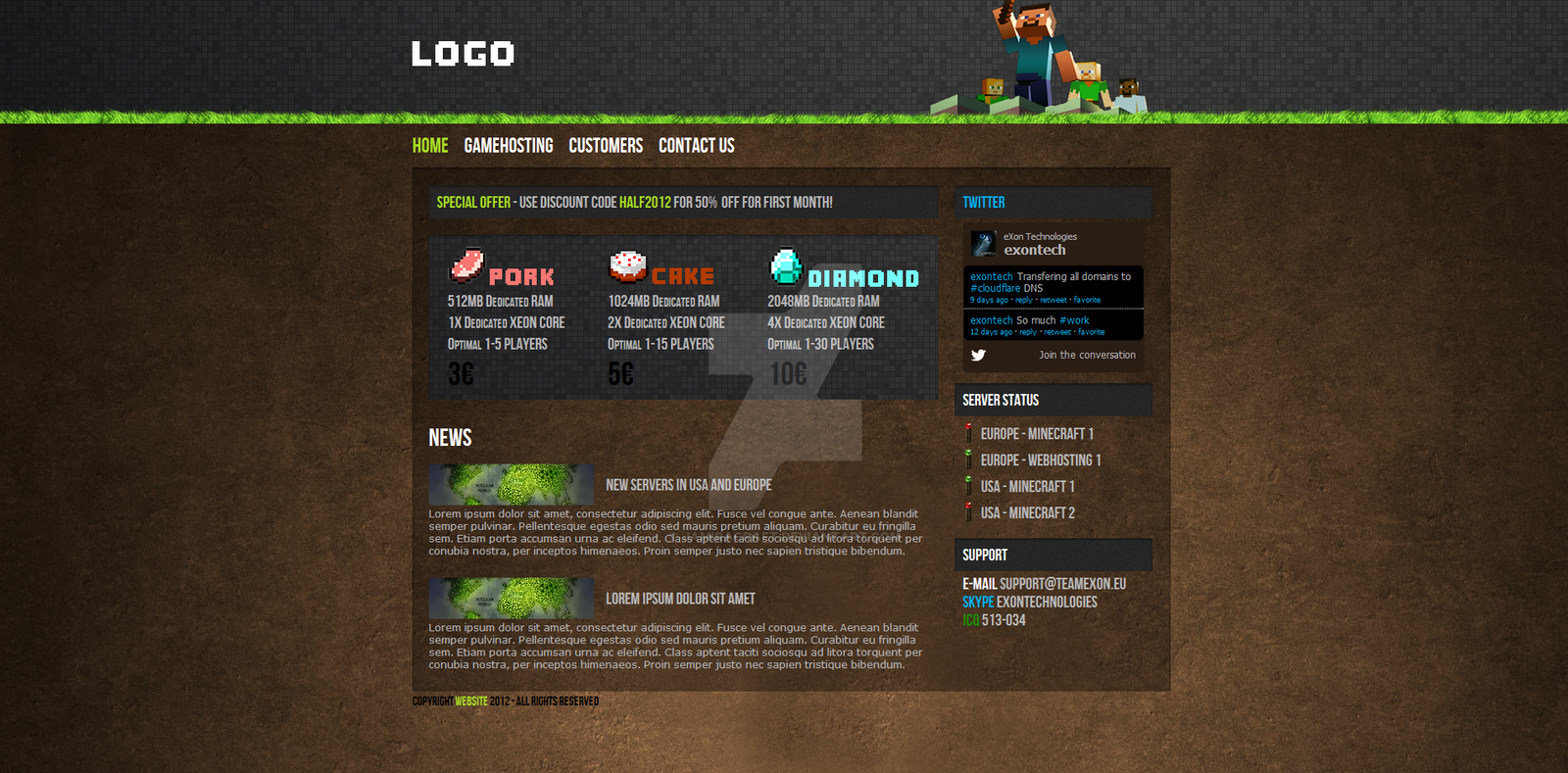Minecraft Html Css Hosting Template For Sale By