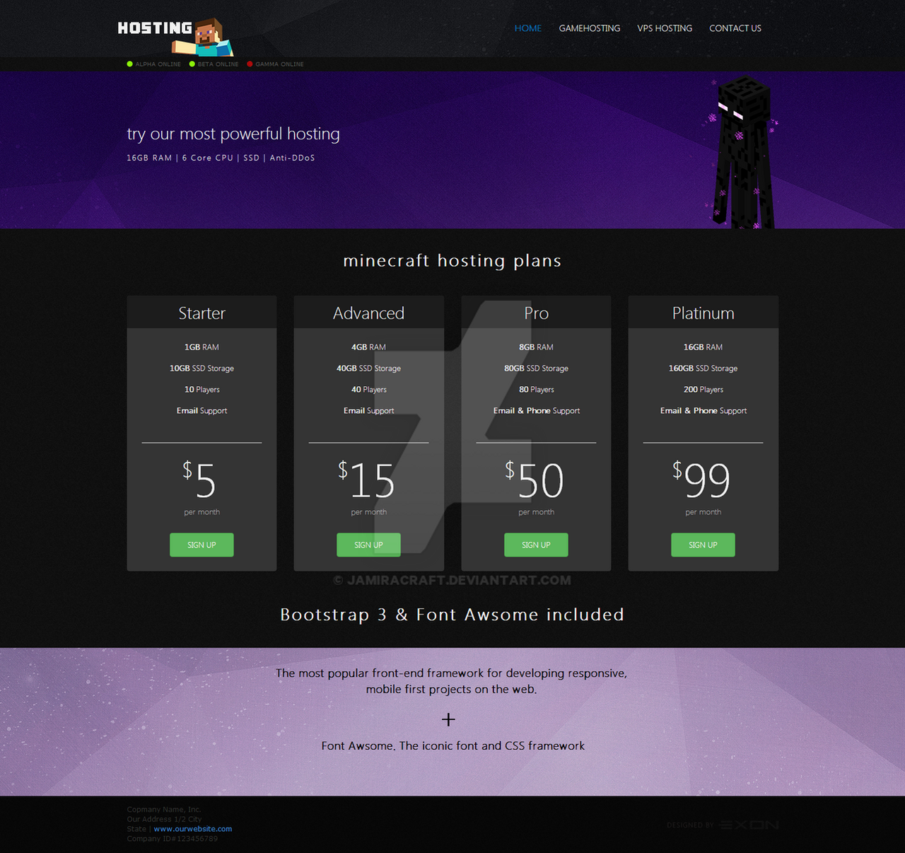 for sale minecraft html css hosting template 2 by jamiracraft on deviantart. Black Bedroom Furniture Sets. Home Design Ideas