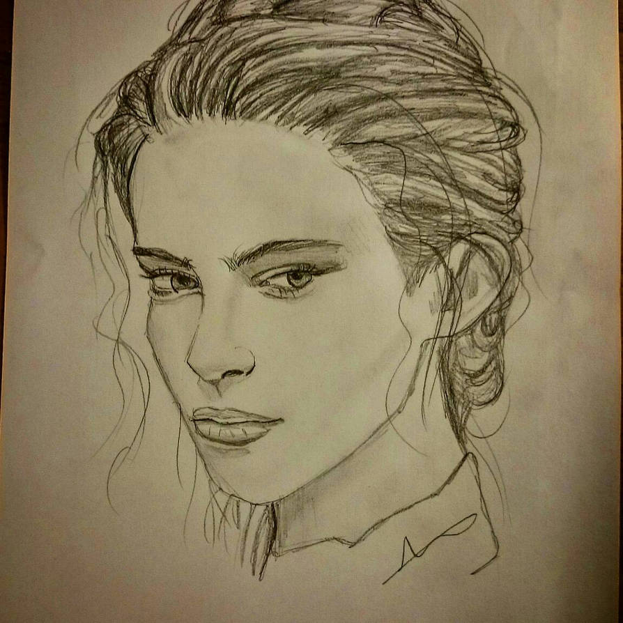 Detailed girl face sketch by jessiedafish