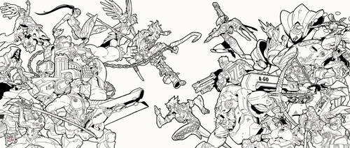 overwatch (lineart , fanart) by ninjakimm