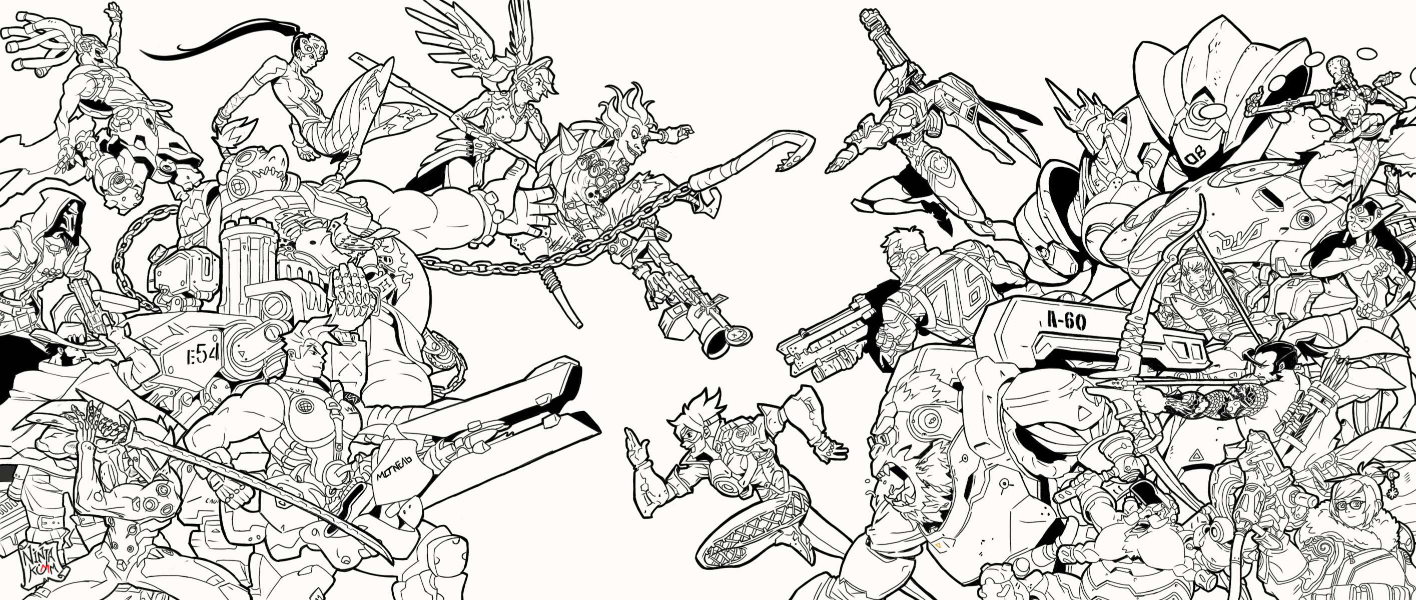 Overwatch lineart fanart by ninjakimm on deviantart for Overwatch coloring pages