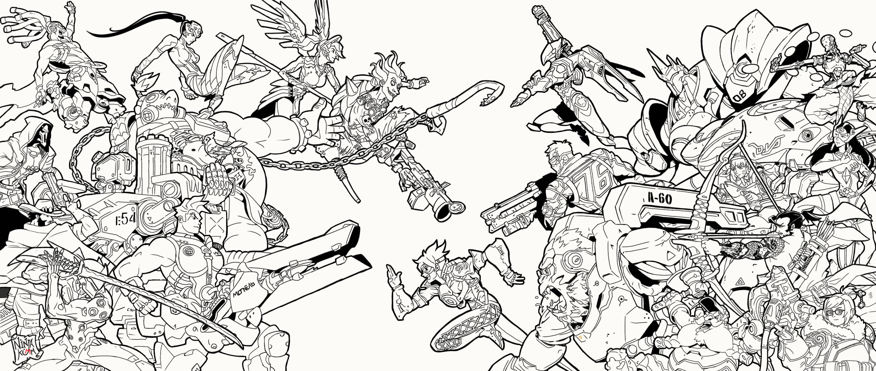Overwatch lineart fanart by ninjakimm on deviantart for Line drawing wallpaper