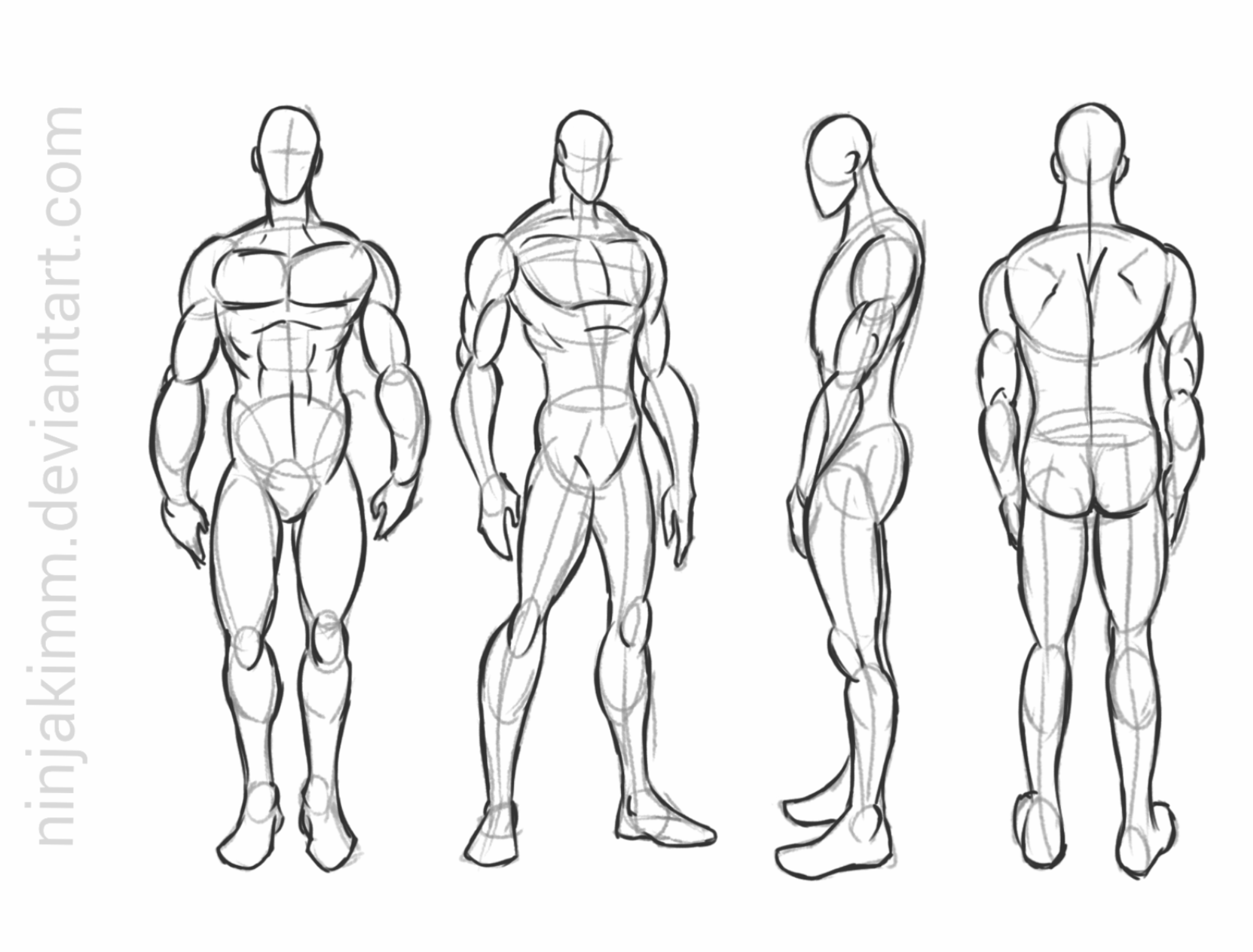 male standing pose (commission sketch) by ninjakimm on ...