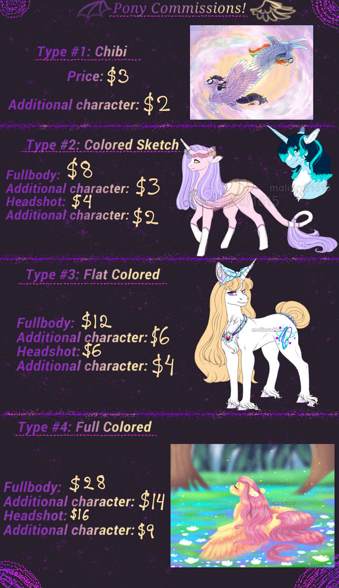 Pony commissions: Info - CLOSED  temporarily