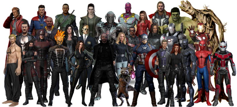 Marvel Heroes 2016 Characters with MCU costumes by RylerRyno