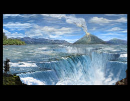 waterfalls and volcano by truehorror666