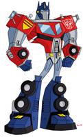 Animated Optimus Prime-CyRaptor TF Legacy