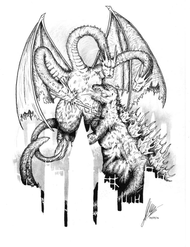Godzilla King Ghidorah Drawing | Www.pixshark.com - Images Galleries With A Bite!