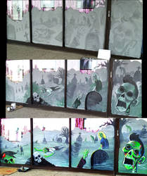 Zombie Mural with steps