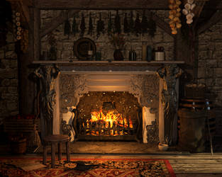 The Grand Kitchen Witch's Hearth by mooncraft3d