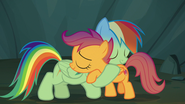 Rainbow Dash And Scootaloo Hug By Dreamman001 On Deviantart Rainbow dash is one of the mane 6. rainbow dash and scootaloo hug by
