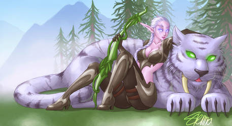 Night Elf Hunter - commission by szienna